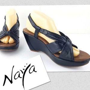 Naya Leather wedge slingback